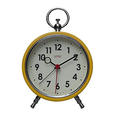 Cloudnola Factory Reloj Alarma – Despertador – Metal - Amarillo y Blanco - 11 cm – Silencioso – Movimiento de Quartz -Pilas – Luz LED para Ver en la Oscuridad
