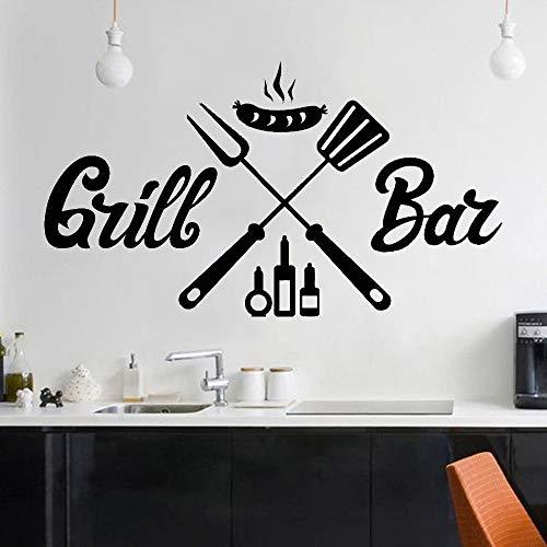 ganlanshu Barbeque Grill Wandaufkleber Restaurant Grill Wurst Innendekoration Wandtattoo Nordic Vinyl Familie Dekoration Kunst 48 cm x 85 cm