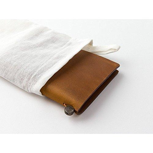 Midori Traveler's Notebook Leather Bundle Set , Passport Size Camel , Refill Connection Rubber Band 011 , Clear Zipper Case 004 Photo #3