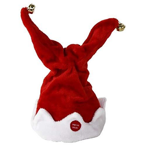 Annastore Weihnachtsmütze mit Glöckchen tanzend mit Musik - Musik spielende und tanzende Nikolausmütze Nikolaus