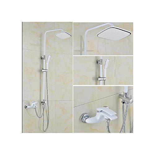 HNBMC - Juego de Grifo de Ducha y bañera, diseño de Cascada, Color Blanco y Cromado