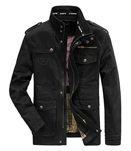 Hombres chaqueta Primavera otoño e invierno Algodón Militar Chaqueta, Negro, 4X-Large=Tag 6XL /Ches 136cm