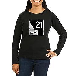 CafePress Route 21, Idaho Long Sleeve T Shirt Women's Long Sleeve T-Shirt, Classic 100% Cotton Crew Neck Shirt Black