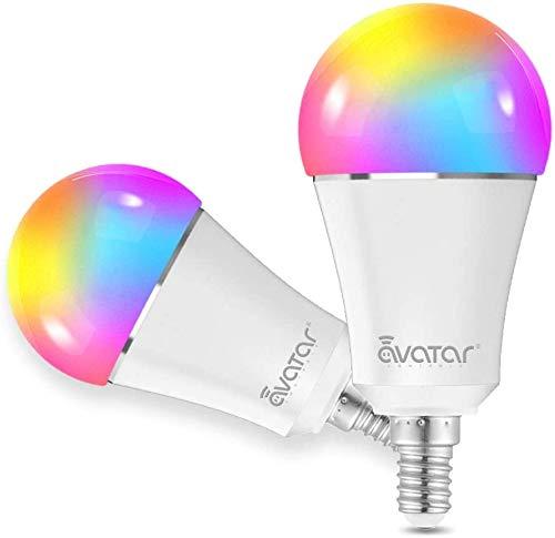 Lampadina Smart Alexa E14 WiFi Lampadine Colorato LED Intelligence 9W=90W 3000-6100K RGBCW Compatibile con Alexa/Google Assistant by Avatar Controls Multicolore Dimmerabile (Aggiornamento Bluetooth,2)