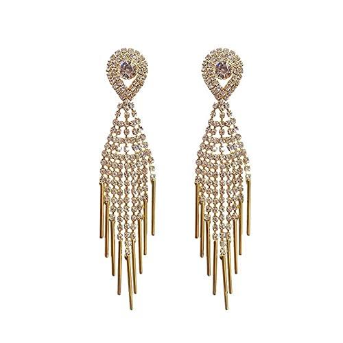 Siwii Pendientes de borla de diamantes de imitación completos temperamento femenino celebridad moda exagerado pendientes largos