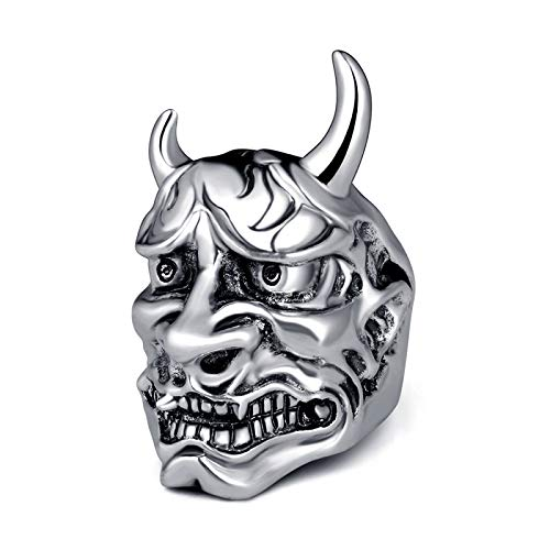 EzzySo Anillo de máscara de PRAJNA Japonesa, joyería de Anillo de aleación de aleación fría Punk fría Retro (2 Piezas),11