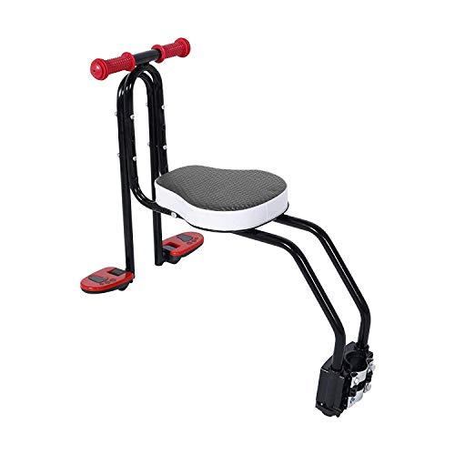 Chenbz Asiento de Metal Bicicleta de Seguridad del Asiento Delantero del bebé de Bicicletas Trasero con cinturón de Seguridad con pasamanos y Pedal, Apto for niños 3-6 años de Edad