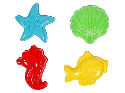 Alsino Formine Sabbia | Set di 4 Pezzi | Giocattolo da Spiaggia | Conchiglia | Pesce | Stella Marina | Cavalluccio, MG-46 Animali del Mare