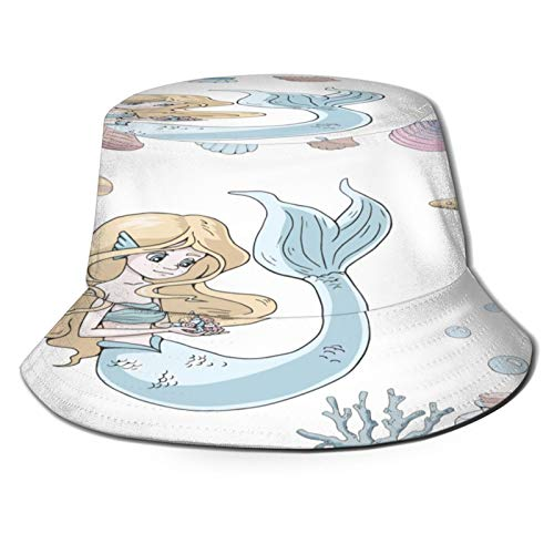 Unisex Bucket Sun Hats Vector Marine Illustrations Set Cute Cartoon Fashion Summer Outdoor Travel Beach Fisherman Cap