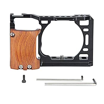 NICRYRIG Cage Kit for A6400 A6500 Sony Mirrorless Camera with Wooden Handle Grip M2.5 Screw - 110