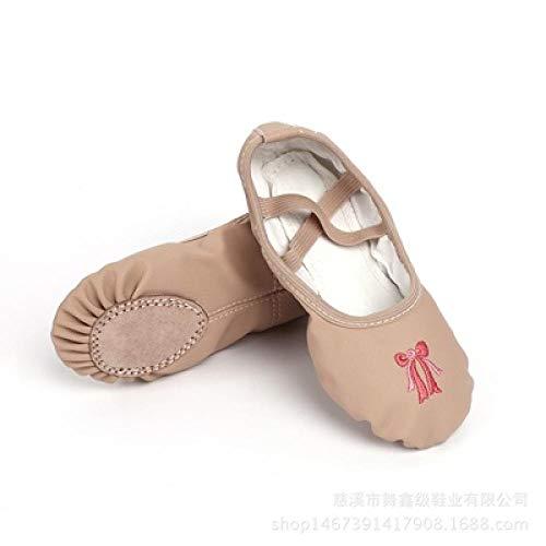 Deporte Ballet Mujer Chica Suela Suave Bowtie Zapatos de Baile Lona Algodón Yoga a12c Caliente-3_11,5