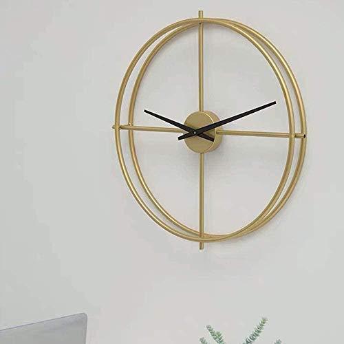 Cálido hogar nórdico moda reloj de pared personalidad creativa mudo reloj de pared hierro forjado mesa moderna minimalista sala de estar lámpara lujo reloj 53*53 cm