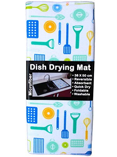 U & U UNIQUE UTILITIES Microfiber Dish Drying Mat for Kitchen (White, 50 X 38 cm)