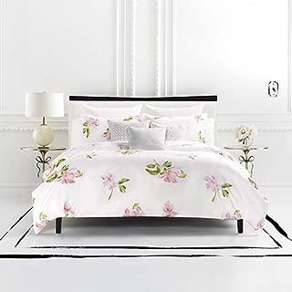 Kate Spade New York Breezy Magnolia Full/Queen Comforter Set Bedding, White/Pink