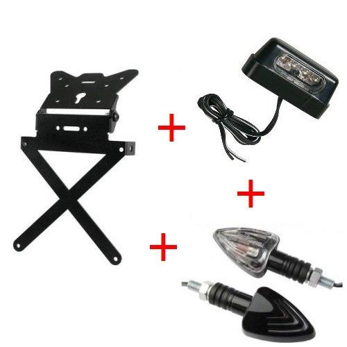 Support de plaque d'immatriculation pour moto Kit universel + 1 paire flèches + lumière plaque d'immatriculation homologué Lampa Yamaha TT 250 R 2000 – 2002