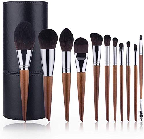 MU Outils de beauté Professional 11 de maquillage de pinceau avec sac de rangement avec effet en cuir de luxe