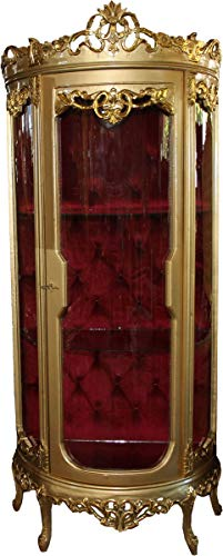 Casa Padrino Barock Vitrine Gold/Bordeaux H 205 cm, B 86 cm - Vitrinenschrank - Wohnzimmerschrank Glasvitrine - Antik Look