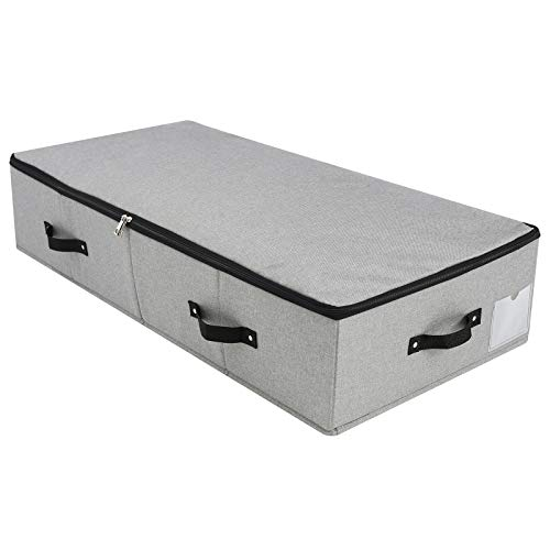 Caja de almacenamiento plegable debajo de la cama con asas, tapa con...