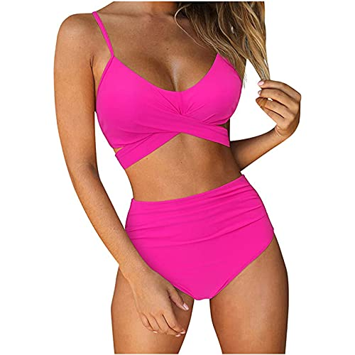 Mujer Bikini 2021 Nuevo Trajes de Baño Mujer Dos Piezas Moda Ropa de Playa Conjunto de Verano Doncella Bikinis Color sólido Patchwork Sexy Push up Bikini Tankinis Elástico Cómodo Beachwear Bañador