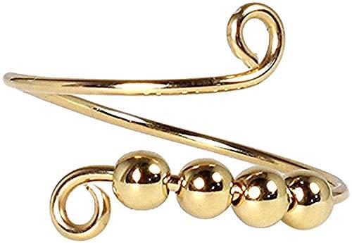 Spinner Fidget Ring, Bague pour dames Anneaux ouverts réglables Perles en spirale à simple bobine Rotation Fidget Ring(Gold 1Ppcs)