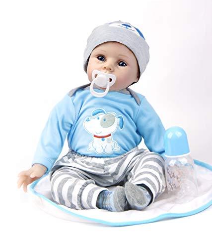 HRYEOY Reborn Bebé Muñecas 22 Pulgadas 55 cm Vinilo de Silicona Realista Hecho a Mano Navidad Regalo Conveniente para la Edad 3 Más