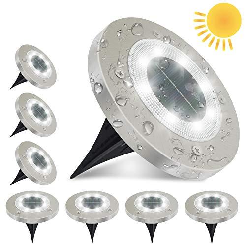 ANKOUJA 8x Solarleuchten Solarlampe für Außen, 8 LEDs Solar Gartenleuchten Bodenleuchten Aussen, 6000K Weiß Solarlicht für Garten, IP65 Wasserdicht Solarleuchten für Rasen, Patio, Hof