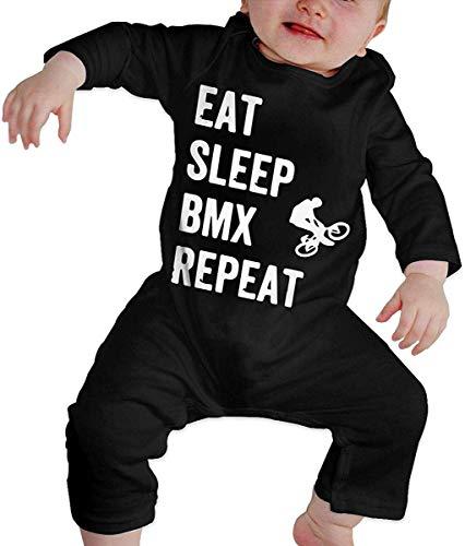 WlQshop Body Bébé Garçon Fille, Eat Sleep BMX Repeat Baby Girls Long Sleeve Infant Cotton Bodysuits