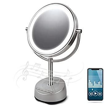 Sharper Image Bluetooth Vanity Makeup Mirror with Wireless Music Streaming LED Light and Phone Charging Port