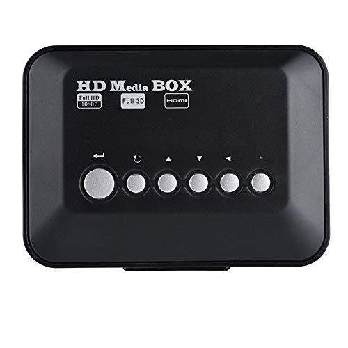 1080P HD HDMI 1080P Reproductor multimedia, Mini reproductor digital multimedia Ultra-HDMI, Caja de reproductor de audio y video USB con soporte de control remoto IR Disco duro móvil, tarjeta SD(EU)