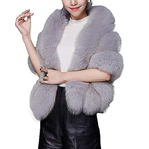 Huaqisen Women Luxury Faux Fur Coat Jackets Wrap Cape Shawl for Wedding Party (Dark gray)