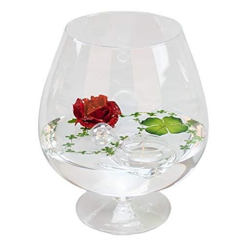 Glaskönig Deko-Glas Cognacglas mittel Höhe 24cm Ø 13cm | Deko-Cognacschwenker mit Dekorations Set Rose rot | Dekoglas als Geschenkset, Dekoration inklusive Deko Komponenten | Deko-Wohnzimmer