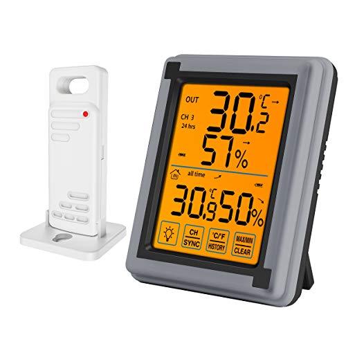 最新版 デジタル温湿度計 外気温度計 ワイヤレス 温度湿度計 室内 室外 三つセンサー 高精度 LCD大画面 バックライト機能付き 最高最低温湿度表示 置き掛け両用タイプ マグネット付 灰色(1つセンサー)