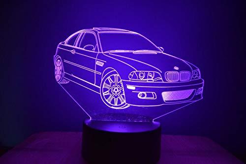 Coche deportivo M3 E46 3D LED ilusión lámpara de noche luz al lado de la mesa colores cambio automático interruptor táctil decoración escritorio control remoto
