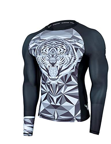 ADOREISM Wildling Series UV Protection Long Sleeve Rashguard Swim Shirts for Men Quick-Dry UPF 50+ MMA BJJ Rashguard for Men(Tiger,S)
