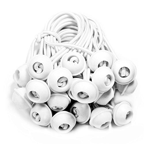 TOOLPORT 25 Stück Set Gummischlaufen Spanngummis zum Befestigen von Planen - Zeltgummis Expanderschlingen Bungees Spanner Planenspanner für Partyzelt Pavillon Zelt - weiß, lang