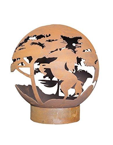 La Hacienda 58086natürlich oxidiert Pferd Fire Globe, braun, 65x 65x 73cm