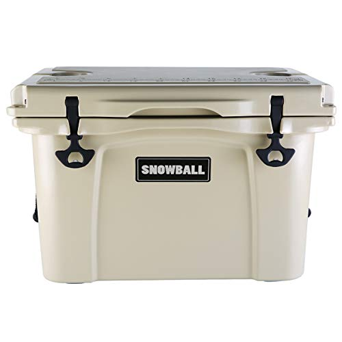 Snowball Coolers, Rotomolded Insulation Ice Chest for Camping, Fishing, Hunting, BBQs & Outdoor Activities, Tan, 37QT(35L)