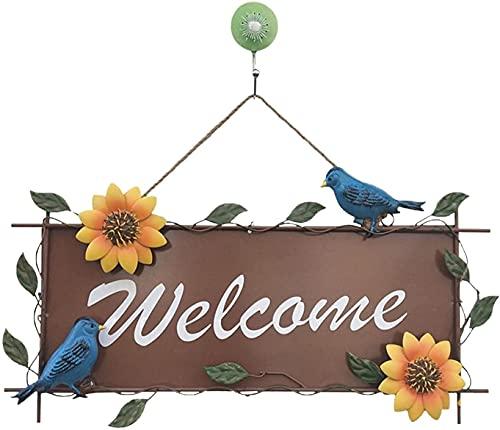Ghlevo Metallo Appeso Girasole Benvenuto Segno Vintage Girasole Appeso Decorazioni Esterne Porta Ghirlanda Giardino al Coperto Negozio wecome Decorazione (Color : Blue Bird)