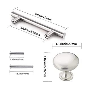 """Sunriver Cabinet Hardware 26 Pack T Bar Cabinet Pulls Brushed Nickel 10 Pack Cabinet Knobs Kitchen Cabinet Handles Stainless Steel 3-3/4"""" Hole Centers for Bathroom Bedroom Cupboard Door and Drawer"""
