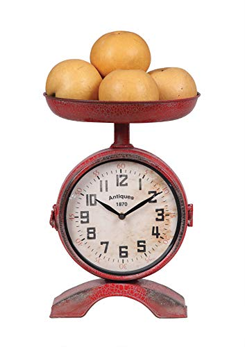 Creative Co-op Red Metal 2-Sided Scale Shaped Clock