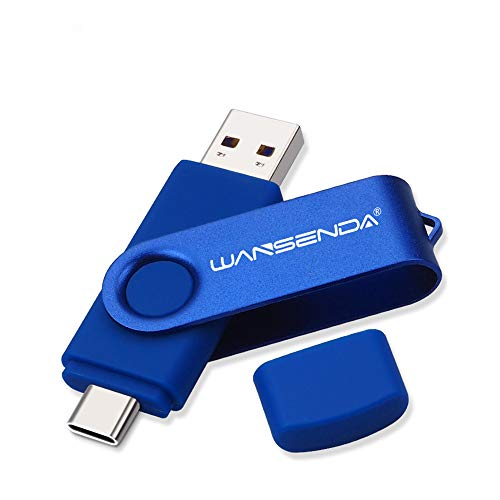 WANSENDA OTG USB C Type C Flash Drive 2 in 1 USB 3.0/3.1 Photo Picture Storage Stick for Android Devices/PC/Tablet/Computer (128GB, Blue)