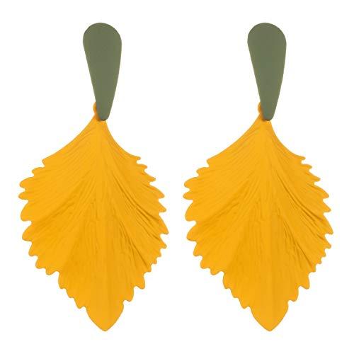 VIWIV Pendientes de hoja con forma de hoja de temperamento de aleación en aerosol pendientes de Europa y América exageradas hojas pendientes estilo boho con mujeres (color: amarillo)