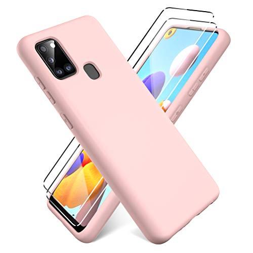 Oududianzi - Funda para Samsung Galaxy A21s + [2 Pack] Protector Pantalla, Carcasa de Silicona Líquida Gel Ultra Suave Funda con tapete de Microfibra Anti-Rasguño - Rosa