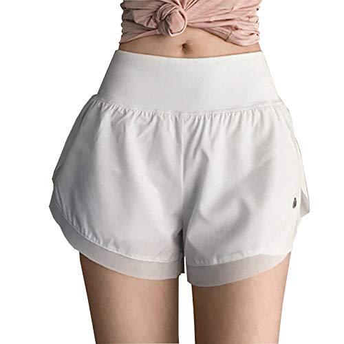 LYMCDP Shorts De Sport Pantalons De Course à SéChage Rapide D'éTé pour Femmes Shorts Taille Haute DoubléS