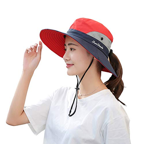 Womens UV Protection Wide Brim Sun Hats - Cooling Mesh Ponytail Hole Cap Foldable Travel Outdoor Fishing Hat Red