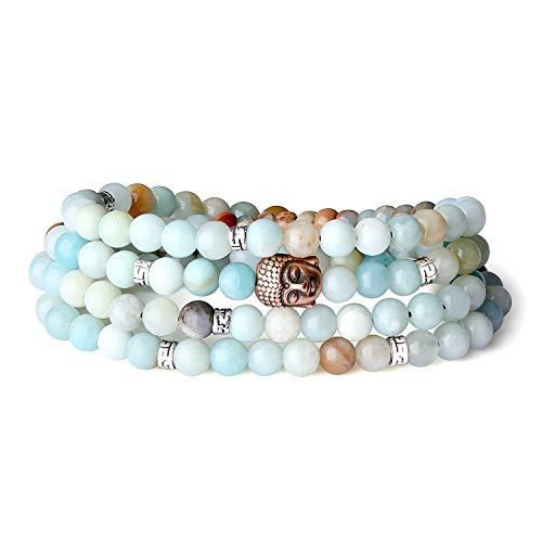 COAI 108 Vielfärbig Amazonit Buddha-Zubehör Buddhistische Gebetsarmband für Damen/Herren