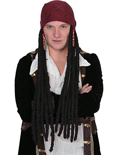 DEGUISE TOI - Perruque Noire Pirate Longue Homme avec Bandana - Taille Unique