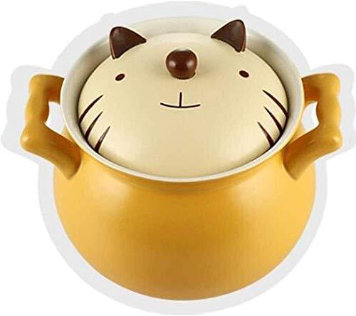 Pote de cazuela de cerámica antiadherente, Stockpo Pote de cerámica de la sopa de la cazuela de dibujos animados Pote de alta temperatura con párrafos para niños adorables para niños para gachas de av