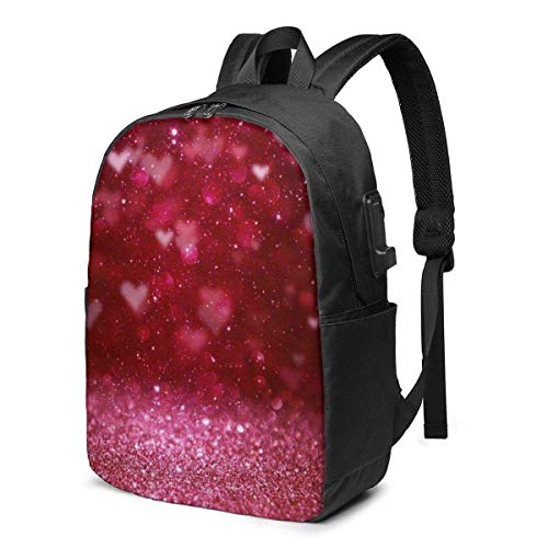 AOOEDM Red Glitter Heart Printed Travel Lightweight Backpack with USB Charging Port and Headphone Port
