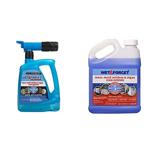 Wet & Forget Roof and Siding Cleaner for Easy Removal of Mold, Mildew and Algae Stains, Bleach-Free Formula, 48 OZ. Hose End & 800003 USA Moss Mold and Mildew Stain Remover, 0.5-Gallon